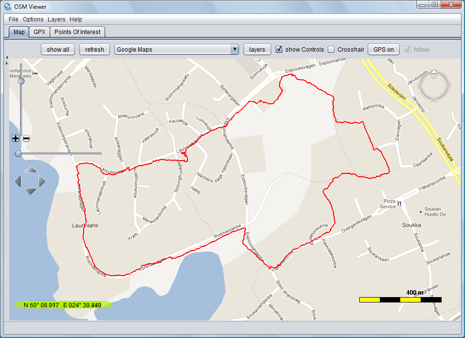 Open Street Map Viewer (OSMV), Tool to see GPS track files (GPX
