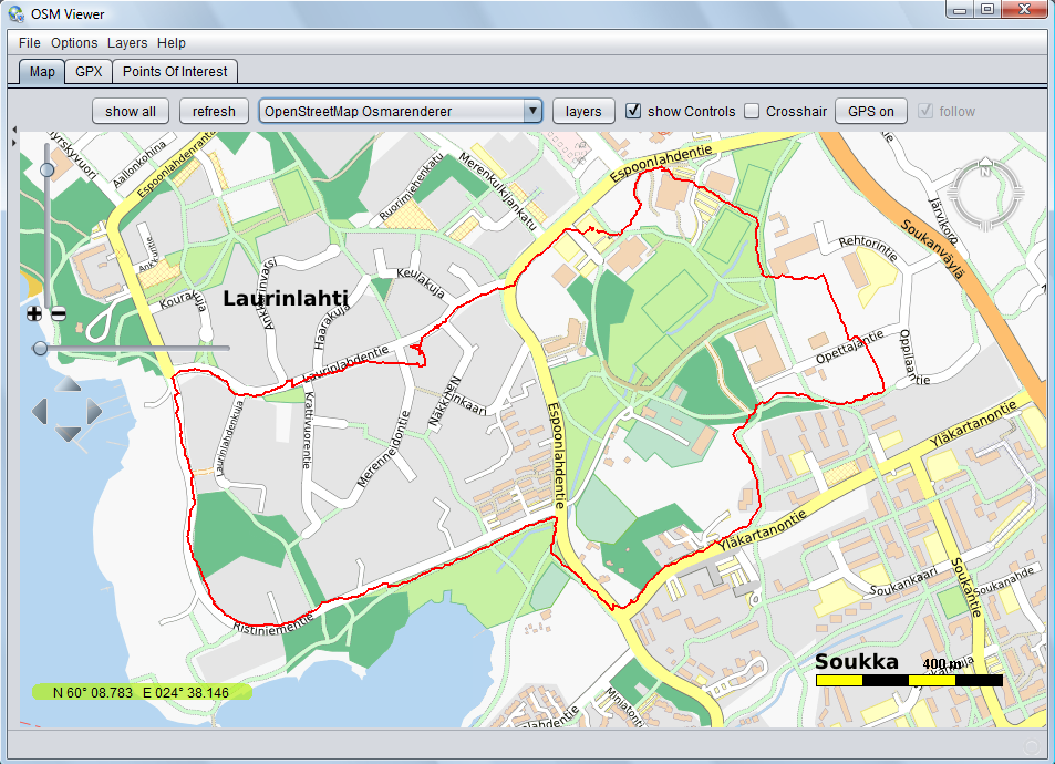 Open Street Map Viewer (OSMV), Tool to see GPS track files