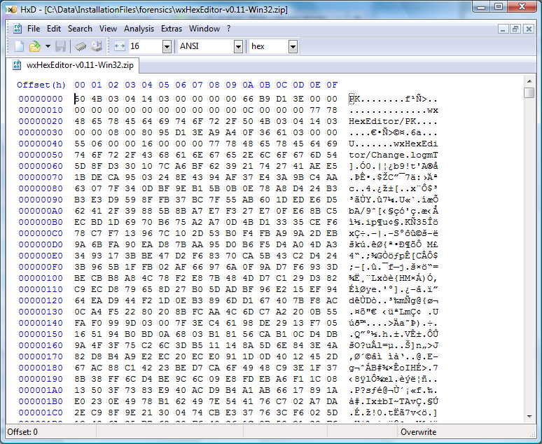 HxD, Tool for editing/viewing binary data like files, memory and