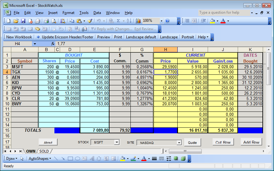 Stock Excel Template. simple stock portfolio management by excel ...