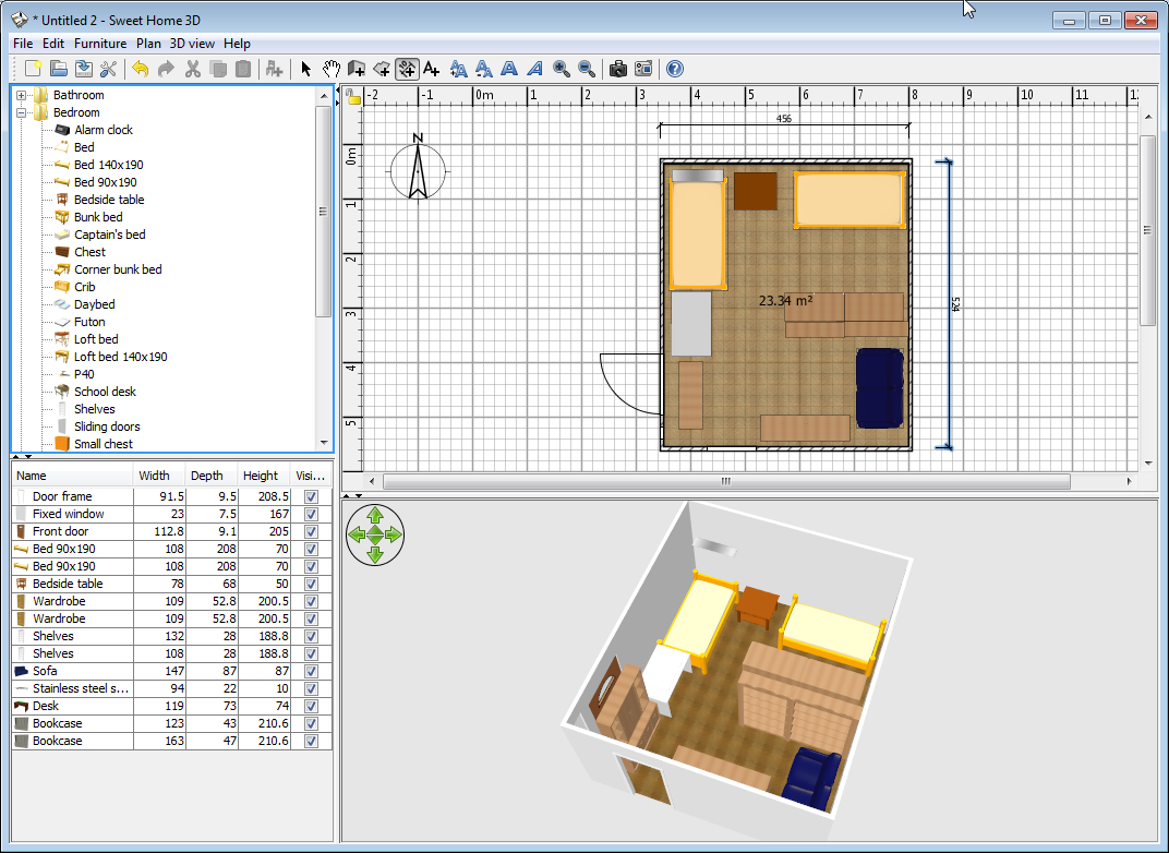 Sweet home 3d tool for designing house floor plan and Furniture design software free download