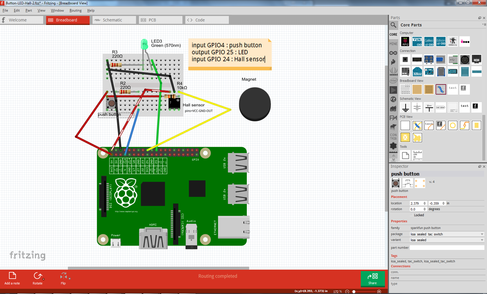 Fritzing Tool For Documenting Raspberry Pi Projects Guidance Blog Circuit Diagram Of The Project Is Shown Below Schematic View Automatically Created Updated While Working On Breadboard Side After Ready One Can Finalize Into A